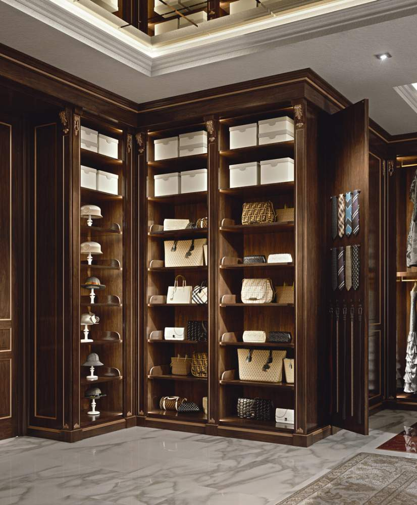 Classic carved walk-in closet wardrobe
