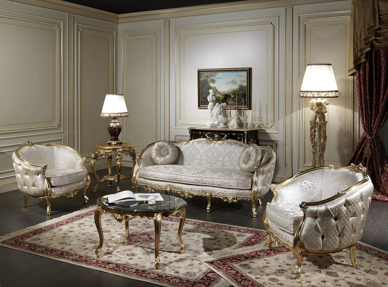 Classic living room furniture venezia vimercati classic furniture for Exclusive living room furniture