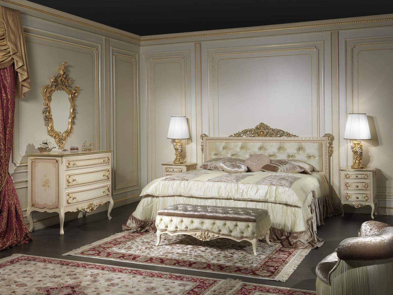 Classic french style bedroom louvre 943 vimercati for Classic french bedroom