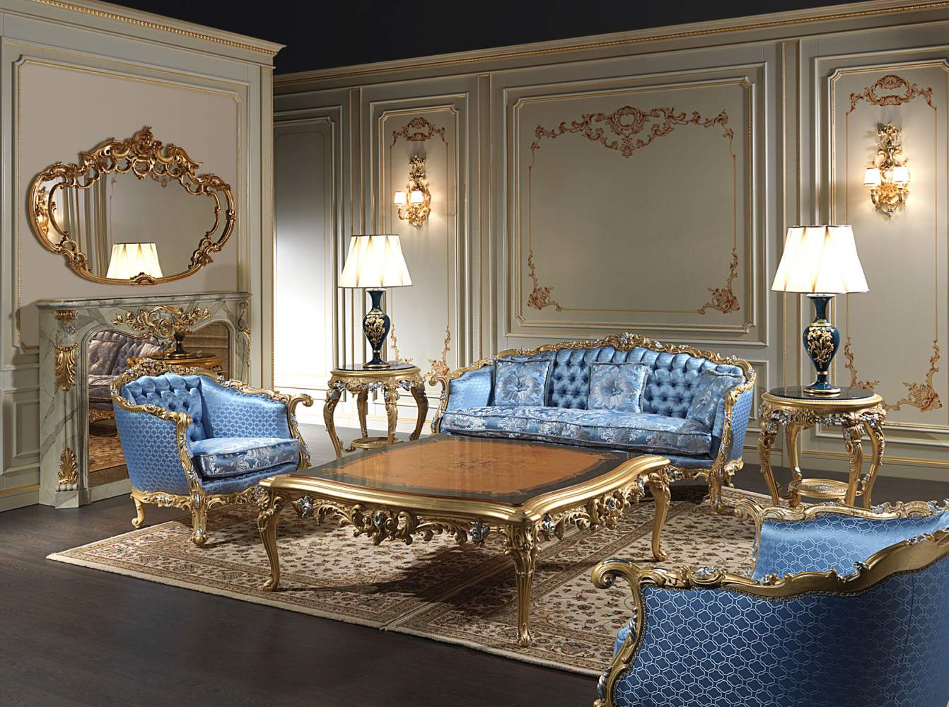 Luxury living room Eighteenth Century: sofas, armchairs and furniture Luigi XV style