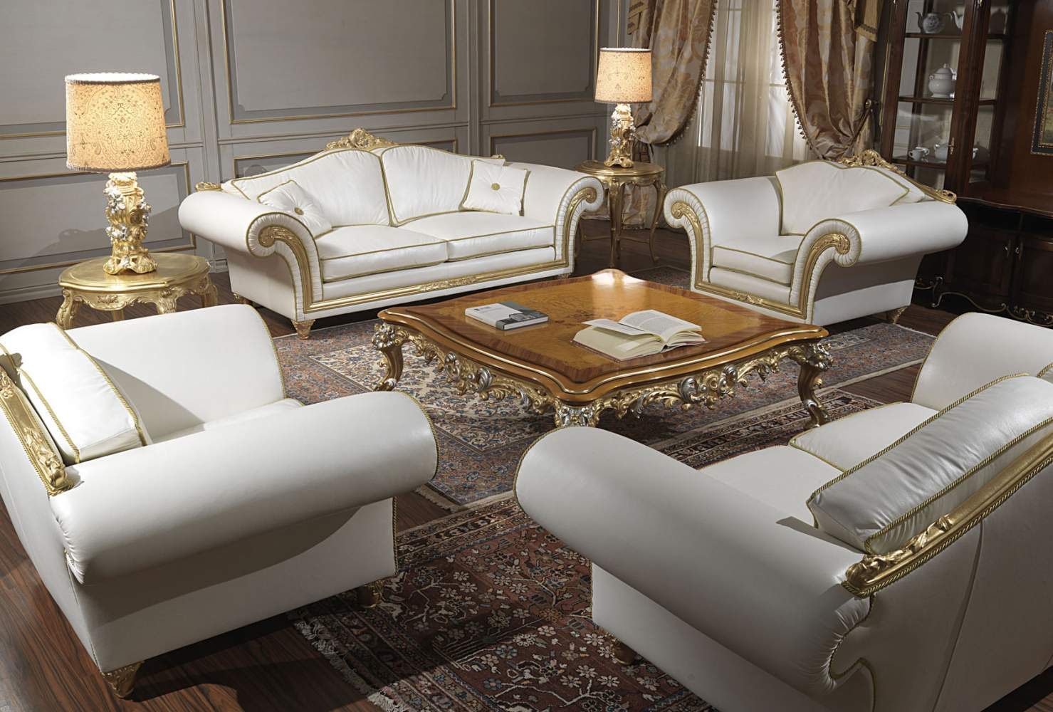 imperial classic living room in white leather vimercati classic furniture. Black Bedroom Furniture Sets. Home Design Ideas