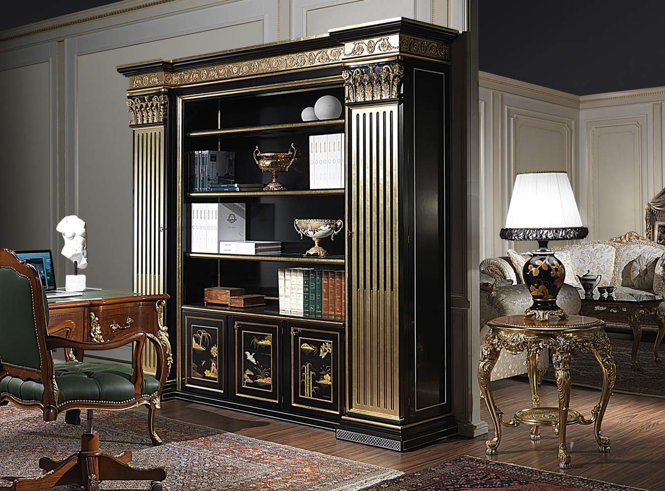 Lacquered classic library chinese style vimercati for Arredamento made in china