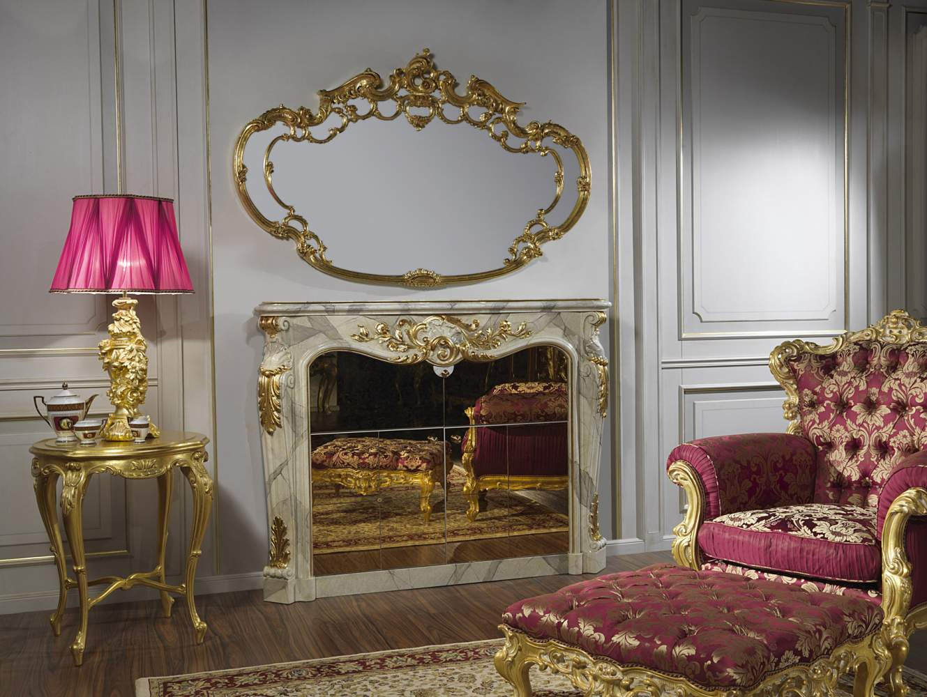 Living Room Baroque With Bar In Fireplace Vimercati